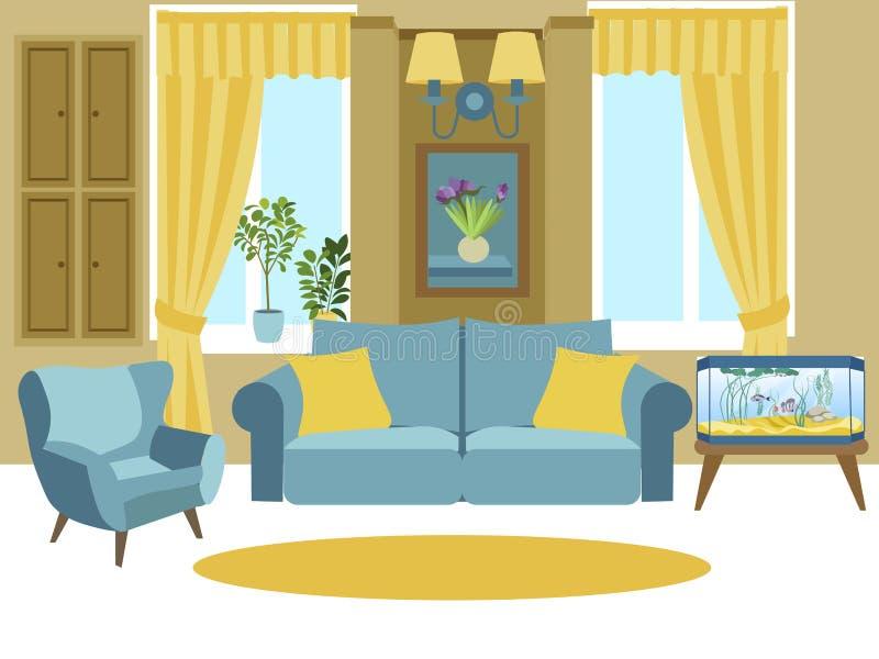Интерьер живущей комнаты Иллюстрация вектора мультфильма плоско иллюстрация вектора