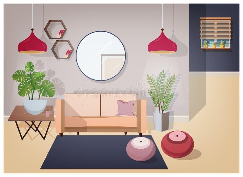 Интерьер живущей комнаты обеспеченный с стильной удобной мебелью и домашними украшениями - уютной софой, журнальным столом бесплатная иллюстрация