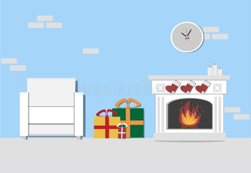 Интерьер живущей комнаты рождества с камином, белым креслом бесплатная иллюстрация
