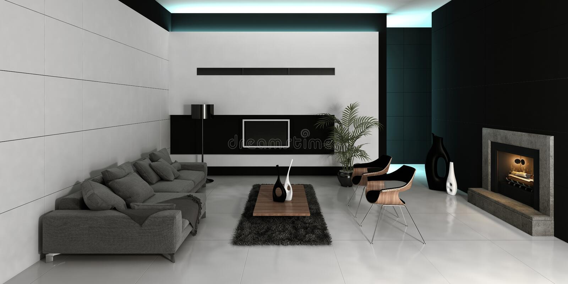 Интерьер живущей комнаты современного дизайна белый стоковое фото rf