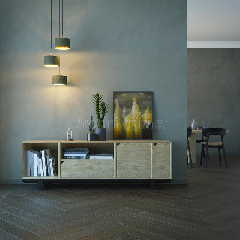 Интерьер живущей комнаты с деревянным sideboard иллюстрация вектора