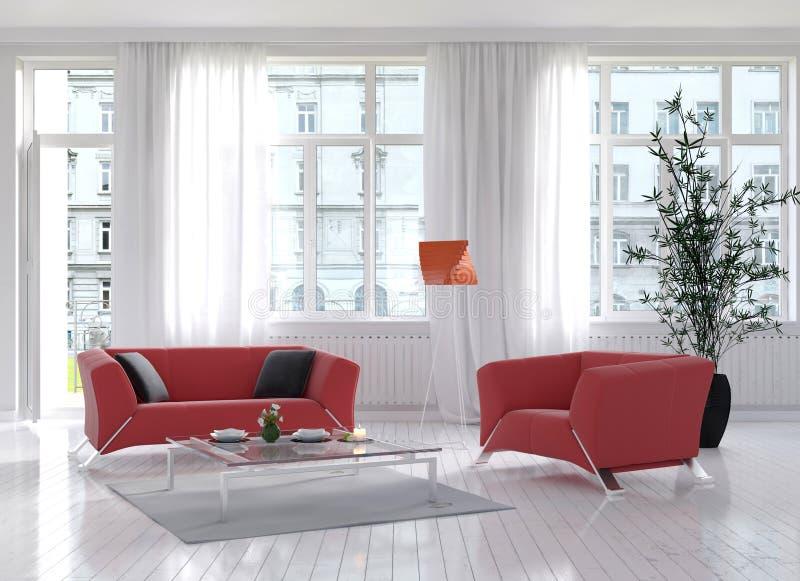 Интерьер живущей комнаты с красными креслом и лампой пола бесплатная иллюстрация