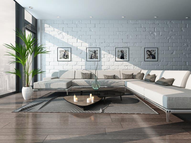Интерьер живущей комнаты с креслом и кирпичной стеной иллюстрация вектора