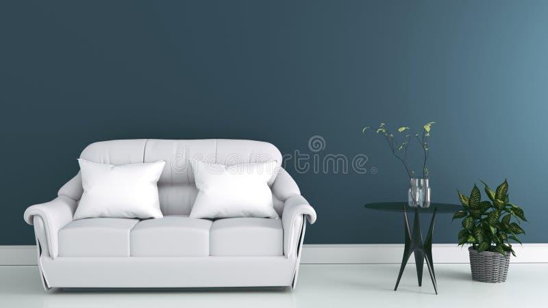 Интерьер живущей комнаты с серыми софой и подушками ткани на современной темной предпосылке стены, переводе 3d иллюстрация штока