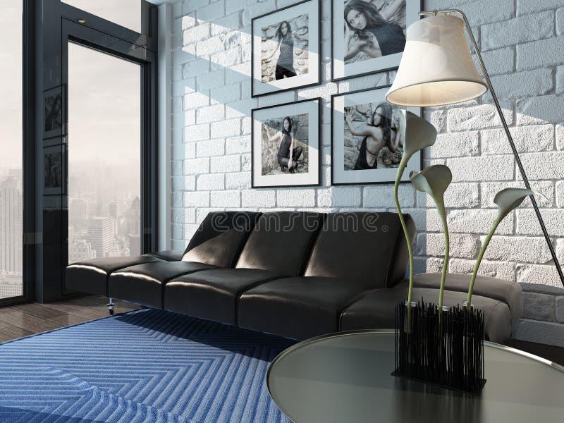 Интерьер живущей комнаты с черным кожаным креслом против кирпичной стены иллюстрация штока