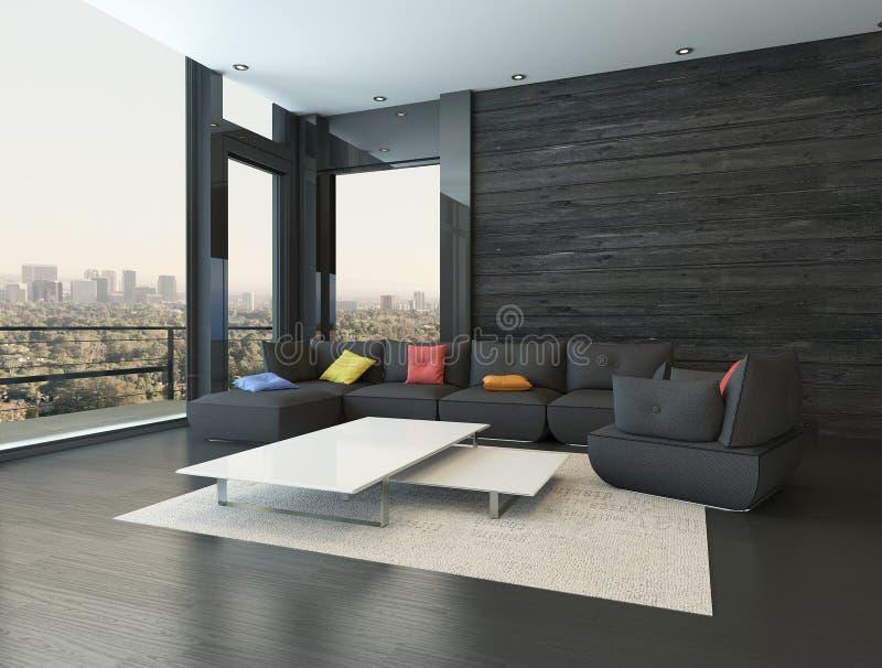 Интерьер живущей комнаты с черным креслом с покрашенными подушками иллюстрация вектора