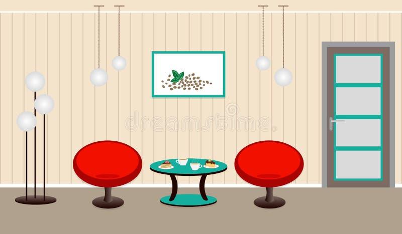 Интерьер живущей комнаты с coffe завтрака и десерт на плате бесплатная иллюстрация