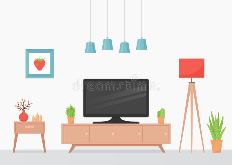 Интерьер живущей комнаты r r иллюстрация вектора