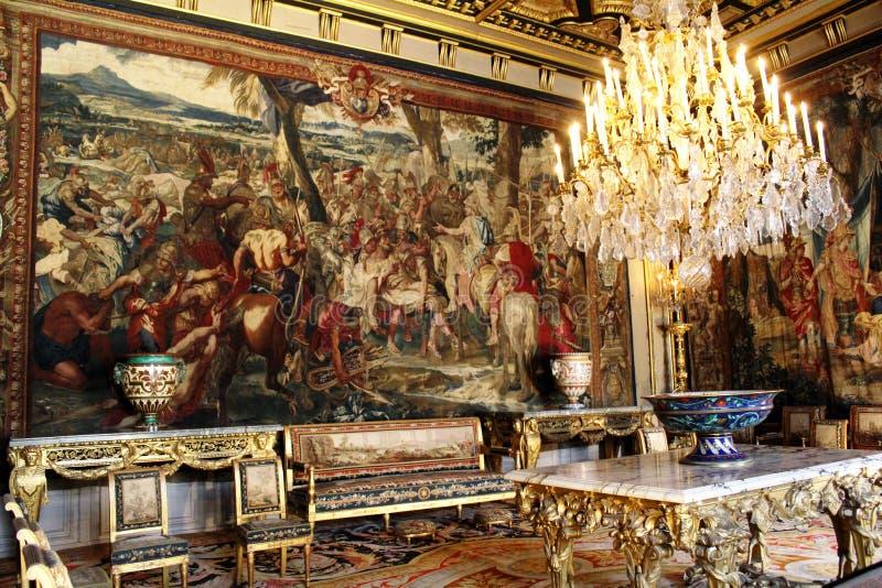 Интерьер замка Фонтенбло, Франции стоковое фото