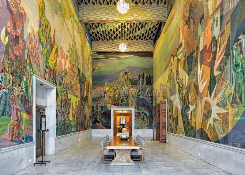 Интерьер западной комнаты Storstein галереи в здание муниципалитете Осло, Норвегии стоковая фотография
