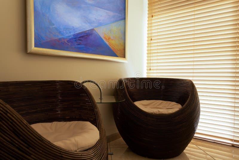 Интерьер зала ожидания в курорте стоковое изображение rf