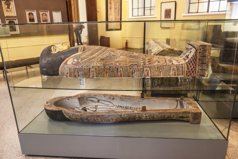 Интерьер залы египетского искусства на музее Pushkin изящных искусств в Москве стоковая фотография