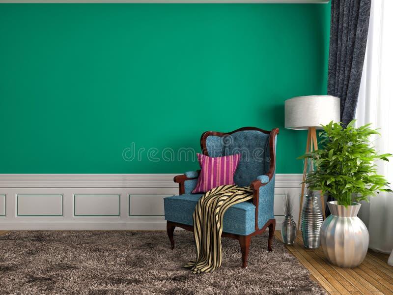 Интерьер зеленого цвета с стулом и лампой иллюстрация 3d бесплатная иллюстрация