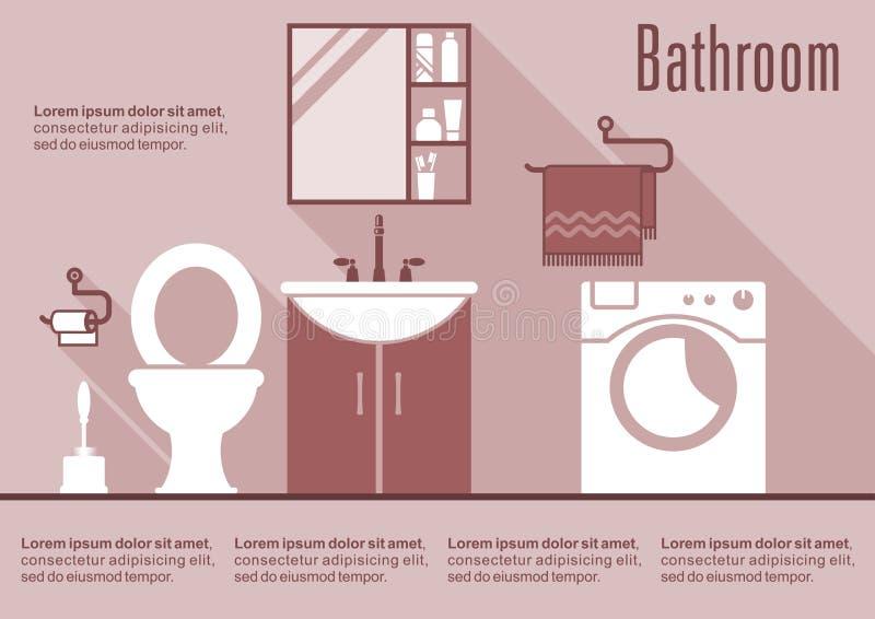 Интерьер дизайна ванной комнаты плоский иллюстрация вектора