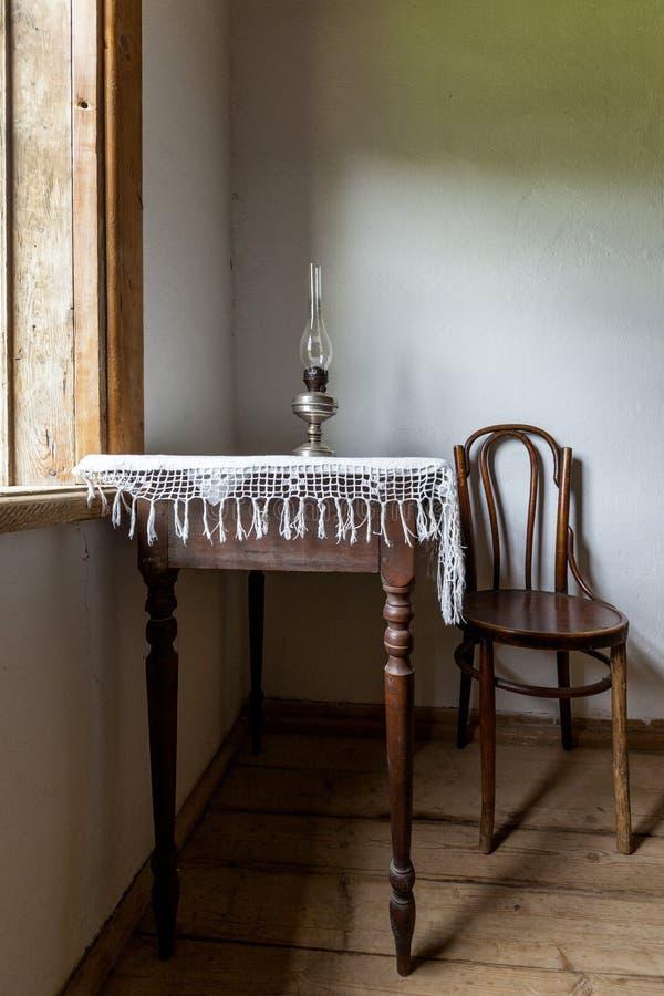Интерьер исторического старого дома фермы с окном для печати стоковое фото