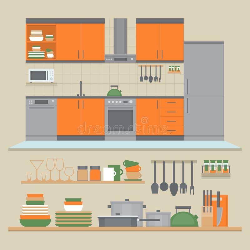 Интерьер и полки кухни с блюдами и варя утварями f иллюстрация штока
