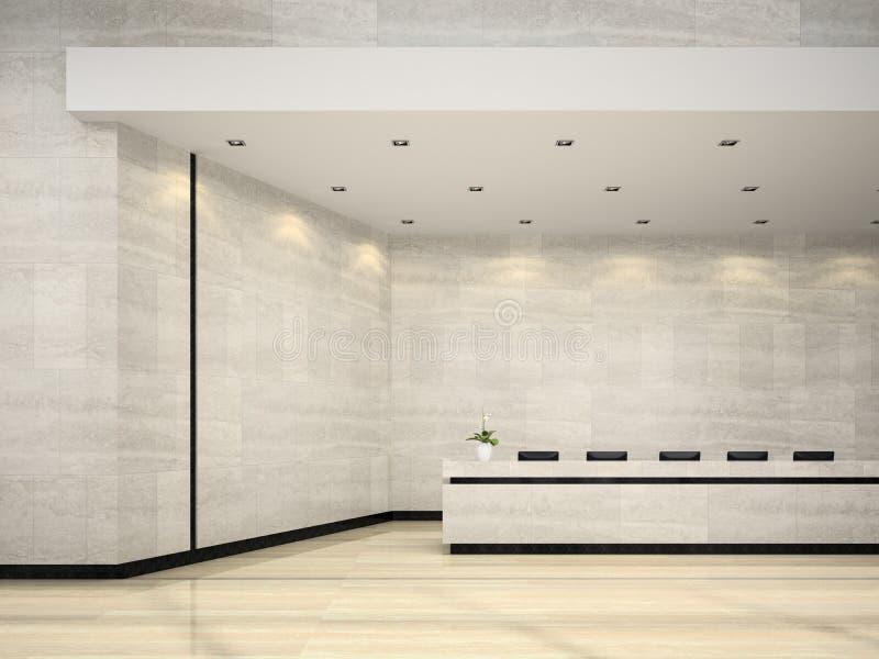 Интерьер иллюстрации приема 3D гостиницы стоковые фотографии rf