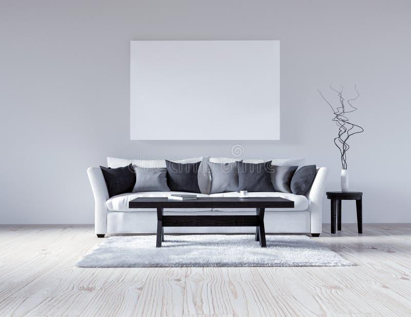 интерьер иллюстрации 3d пустой белый с софой, пустая стена, минималистские живущие подушки комнаты, черных и серых, светлая софа, иллюстрация вектора