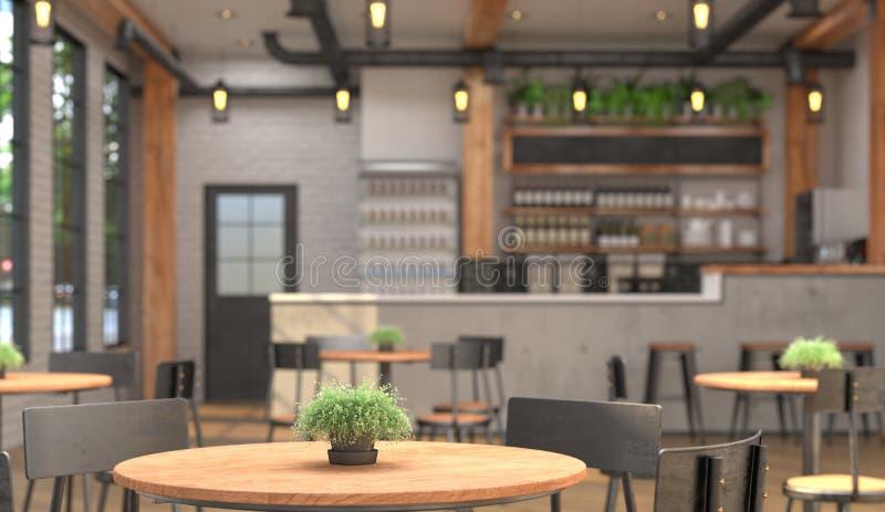 Интерьер кафа с счетчиком бара Запачканные предпосылка и поверхность таблицы на переднем плане перевод 3D с глубиной поля иллюстрация вектора
