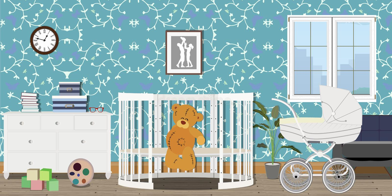 Интерьер комнаты младенца Плоский дизайн Комната с commode, игрушки младенца, pram, окно, кроватка младенца Комната ` s детей бесплатная иллюстрация