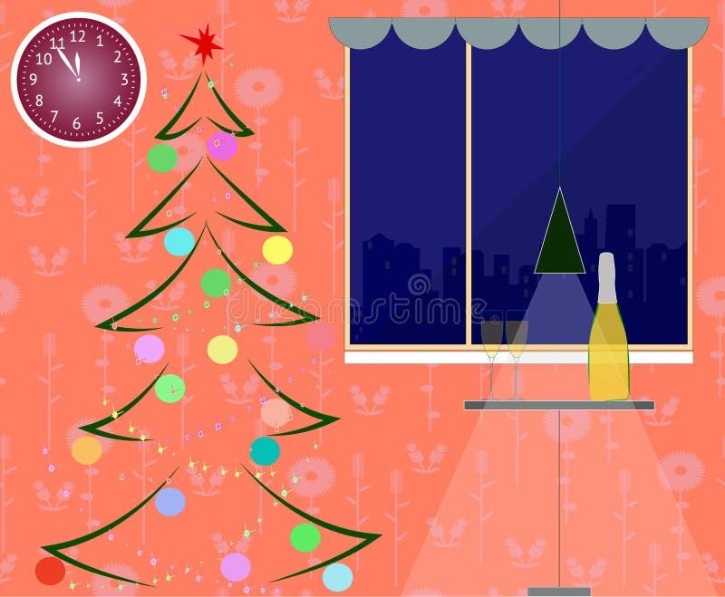 Интерьер комнаты Нового Года с елью Рождественская елка, украшение и шампанское также вектор иллюстрации притяжки corel иллюстрация штока