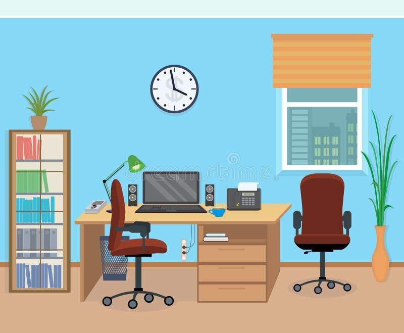 Интерьер комнаты офиса с мебелью и оборудованием иллюстрация штока