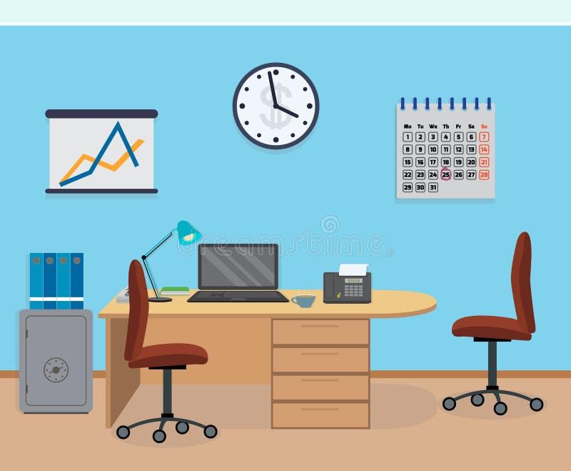 Интерьер комнаты офиса с мебелью, календарем, безопасным бесплатная иллюстрация