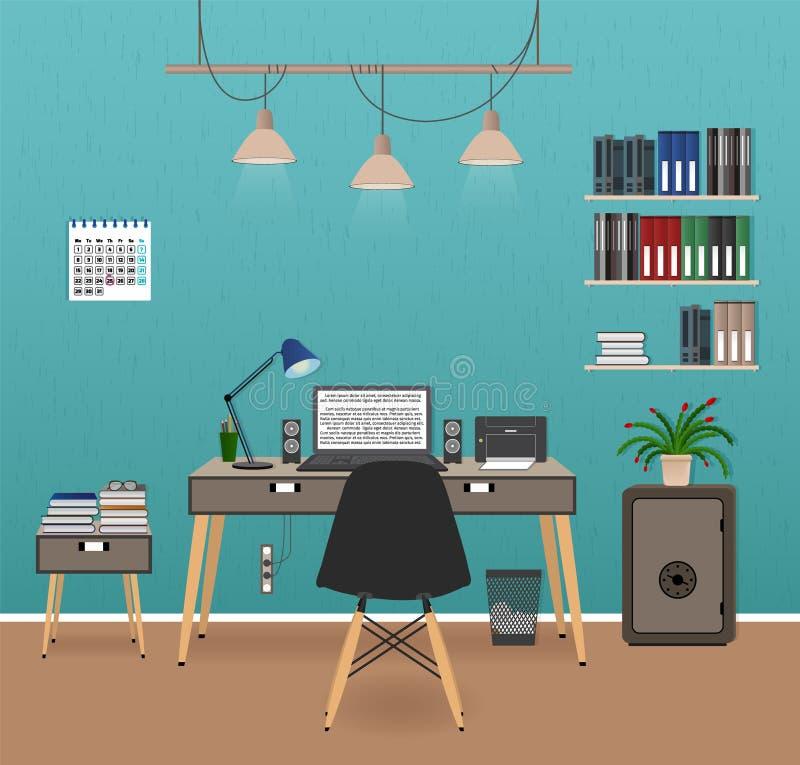 Интерьер комнаты офиса с местом для работы Организация рабочего места в офисе Работая дизайн шкафа с мебелью бесплатная иллюстрация