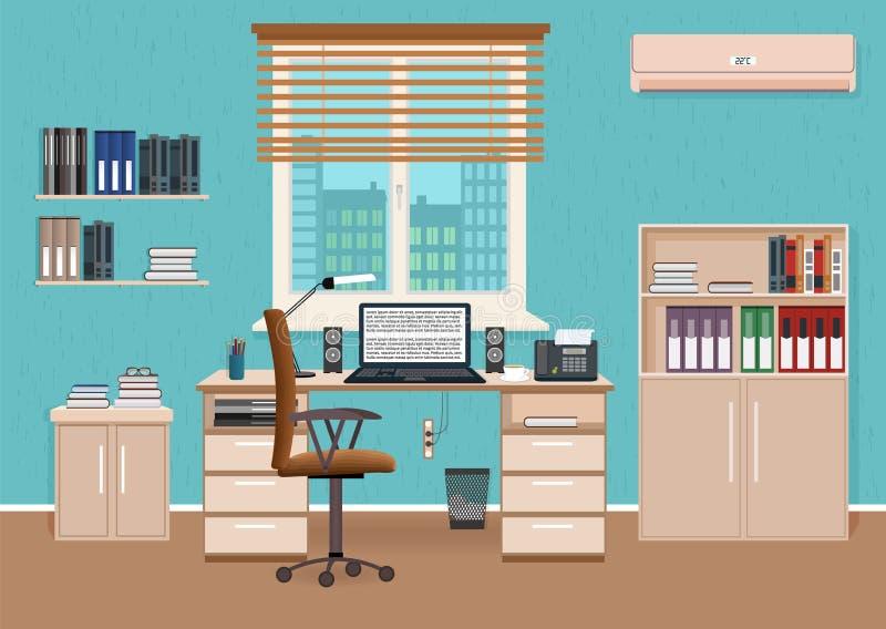 Интерьер комнаты офиса с местом для работы Работая шкаф конструирует с мебелью и доступом к коридору бесплатная иллюстрация
