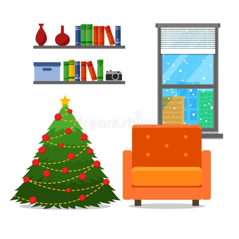 Интерьер комнаты рождества Рождественская елка с креслом Плоская иллюстрация вектора стиля иллюстрация вектора