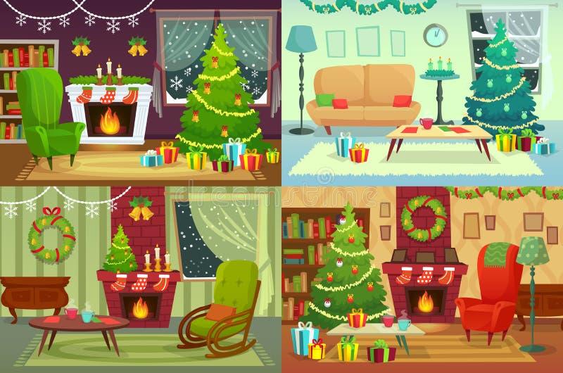 Интерьер комнаты рождества Xmas самонаводит украшение, подарки Санты под традиционным деревом и интерьер дома зимнего отдыха иллюстрация штока