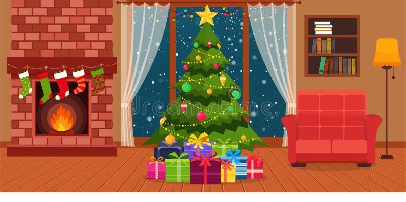 Интерьер комнаты рождества с камином, креслом с лампами, она бесплатная иллюстрация