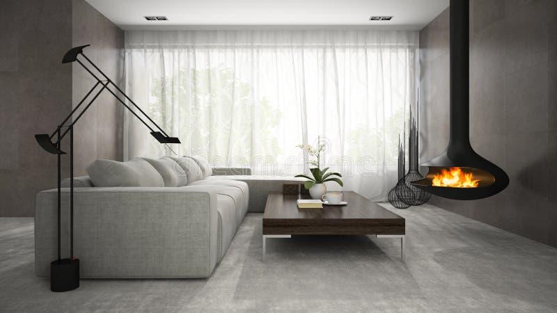 Интерьер комнаты современного дизайна с переводом камина 3D стоковое фото