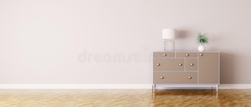 Интерьер комнаты с комодом ящиков бесплатная иллюстрация