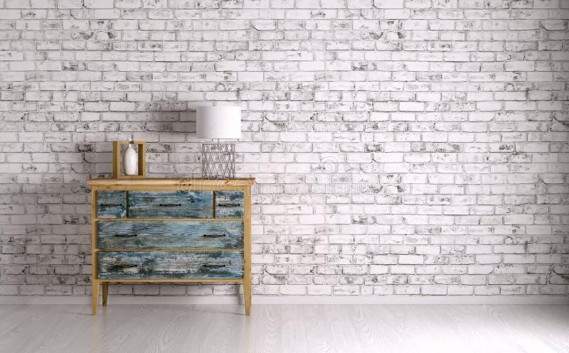 Интерьер комнаты с комодом ящиков 3d представляет бесплатная иллюстрация