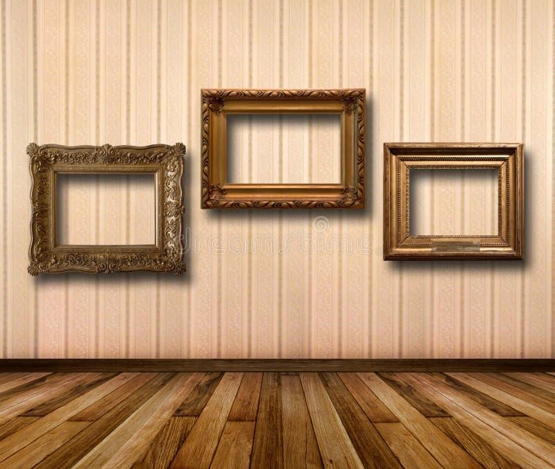 Интерьер комнаты с striped рамками обоев и золота деревянными иллюстрация штока