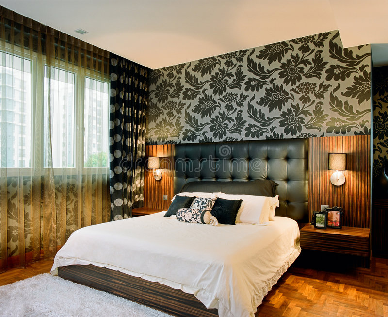 интерьер конструкции спальни стоковое фото rf