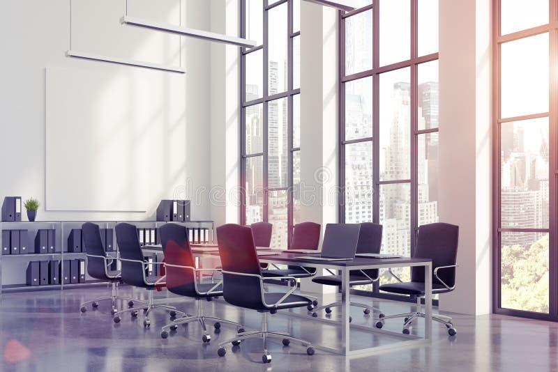 Интерьер конференц-зала с длинной черной таблицей с компьтер-книжками стоя на ей и вертикальным плакатом на белой стене иллюстрация штока