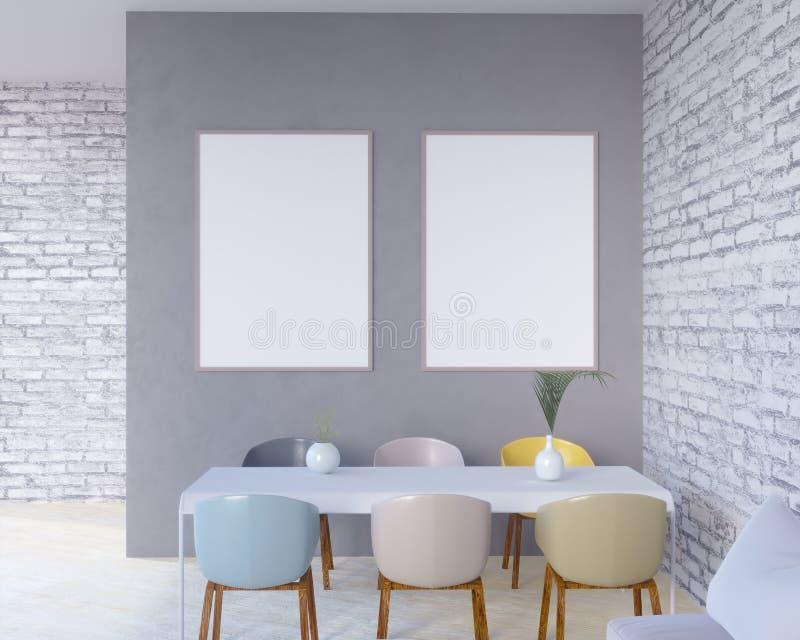 Интерьер концепции, глумится вверх по плакату на стене, иллюстрации 3d представляет, представлять, ретро, комната, скандинавская иллюстрация вектора