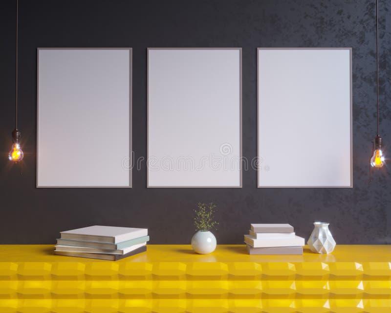 Интерьер концепции, глумится вверх по плакату на стене, иллюстрации 3d представляет, представлять, ретро, комната, скандинавская иллюстрация штока