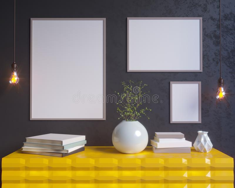 Интерьер концепции, глумится вверх по плакату на стене, иллюстрации 3d представляет, представлять, ретро, комната, скандинавская бесплатная иллюстрация