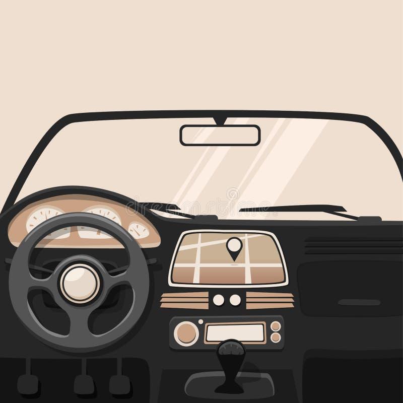 Интерьер корабля Внутренний автомобиль иллюстрация мальчика неудовлетворенная шаржем меньший вектор иллюстрация штока