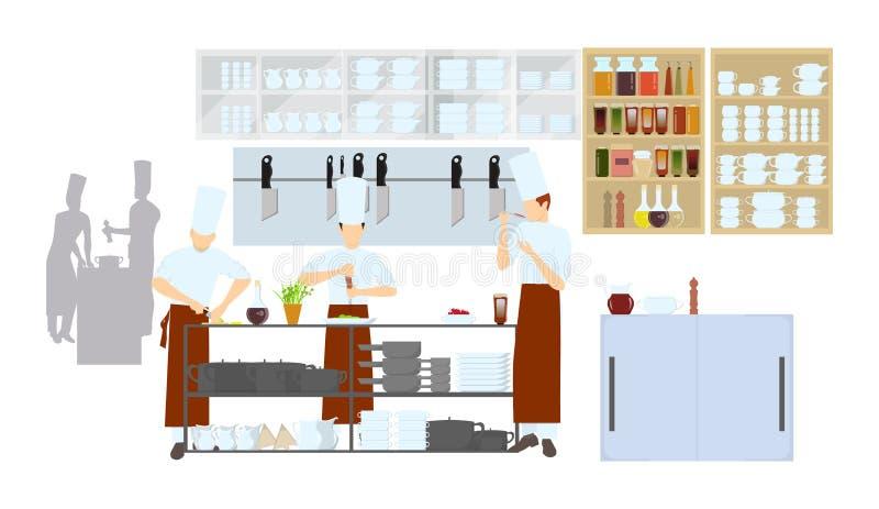 Интерьер кухни в ресторане иллюстрация вектора
