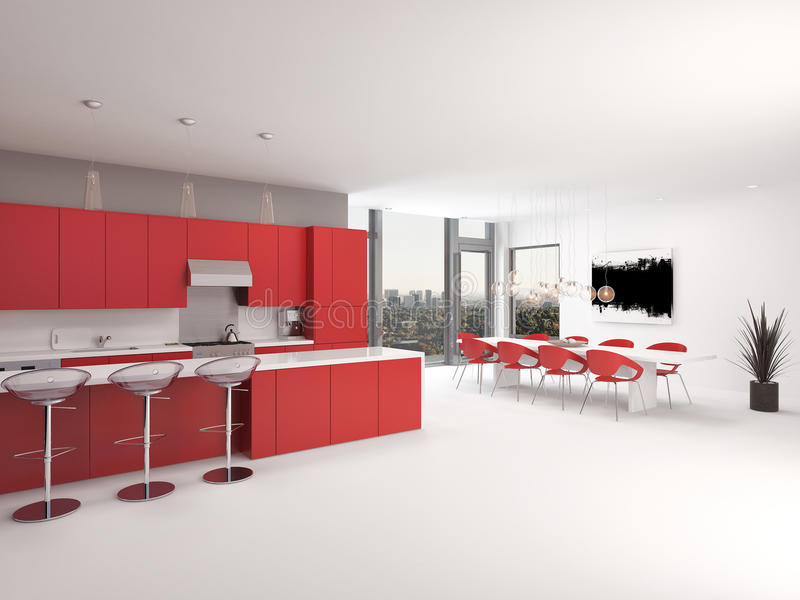 Интерьер кухни открытого плана современного дизайна красный иллюстрация вектора