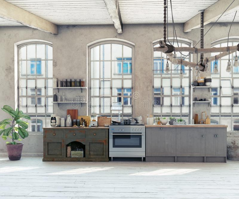 Интерьер кухни просторной квартиры чердака иллюстрация вектора
