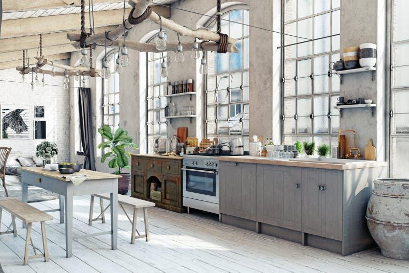 Интерьер кухни просторной квартиры чердака иллюстрация штока