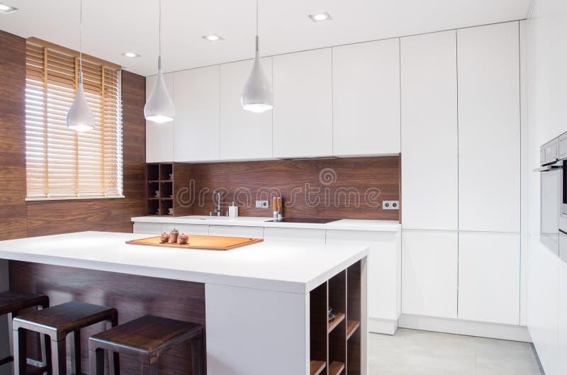 Интерьер кухни современного дизайна стоковое изображение rf