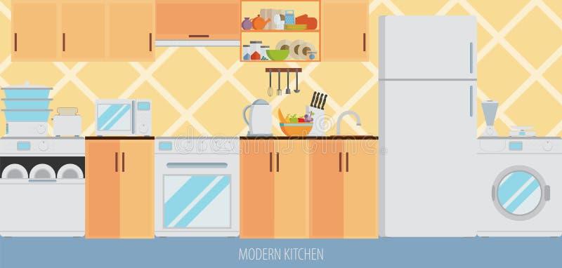 Интерьер кухни с мебелью и варя утварями Плоский стиль бесплатная иллюстрация
