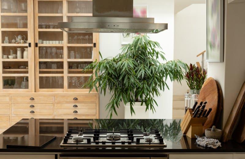 Интерьер кухни с worktop дома стоковое фото