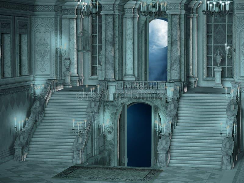 Интерьер лестницы дворца иллюстрация вектора